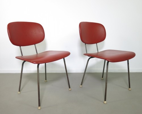 Pair of No 116 dinner chairs by Wim Rietveld for Gispen, 1950s