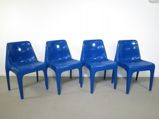 Set of 4 blue plastic Vlotho chairs by Schöder & Henzelmann