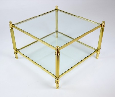 French Brass Two Tier Coffee Table, 1970's