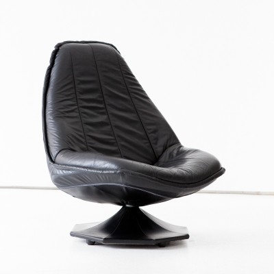1960's Swedish Black Natural Leather Lounge Chair