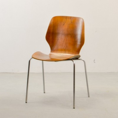 Scandinavian Design Minimalistic Plywood Side Chair, 1950s