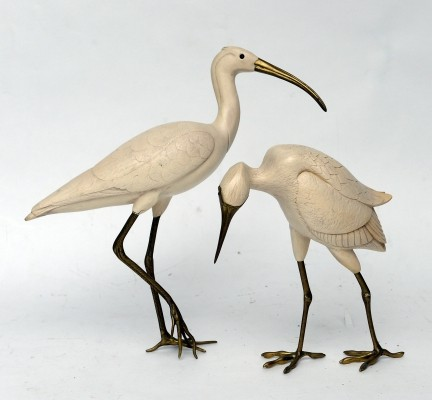 Pair of brass bird sculptures by Malevolti, 1950s