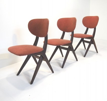 Set of 3 'scissors' chairs by Louis van Teeffelen, 1960's