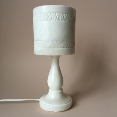 Vintage White Solid Alabaster Table Lamp, Sweden 1950s