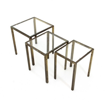 Italian mid-century brass & glass nesting tables, 1950s