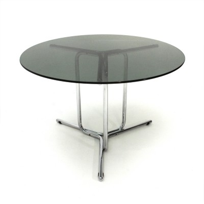 Italian mid-century chromed dining table with glass top, 1970s