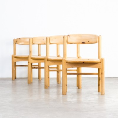 Set of 4 Rainer Daumiller pine wood dining chairs, 1960s