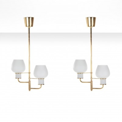 Pair of Bent Karlby brass ceiling lamps with opal glass shades, Denmark 1950s