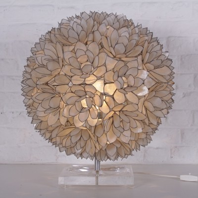 Large capiz flowerball lamp by Rausch