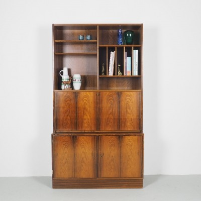 Hundevad Rosewood bookcase with secretaire designed by Carlo Jensen