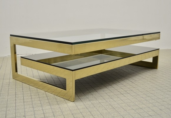Vintage Belgo chrom G shaped 23kt gold coffee table, 1980s