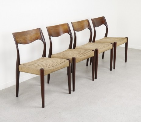 Set of 4 Danish dining chairs in Rosewood, 1950s