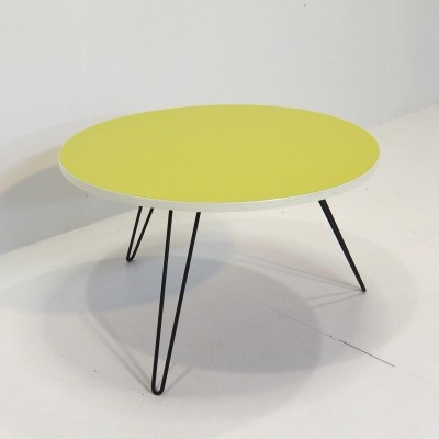Colorful 1950's coffee table with black metal base & yellow formica top