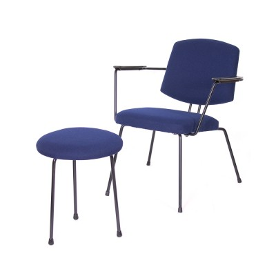 Vintage 'Model 5003' armchair & stool by Rudolf Wolf for Elsrijk