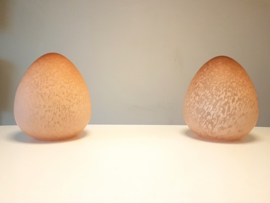 Vintage glass egg table lamps, 1970s
