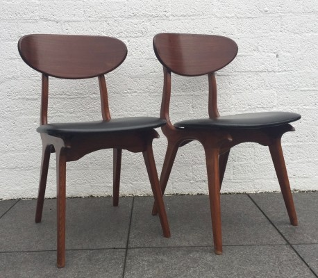 Pair of dinner chairs by Louis van Teeffelen for Wébé, 1960s