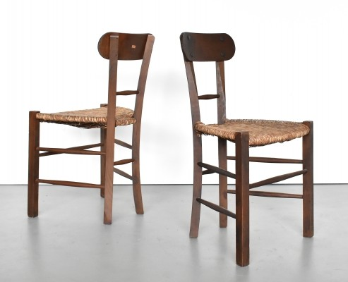 Set of 2 modernist chairs in oak & rush, 1950s