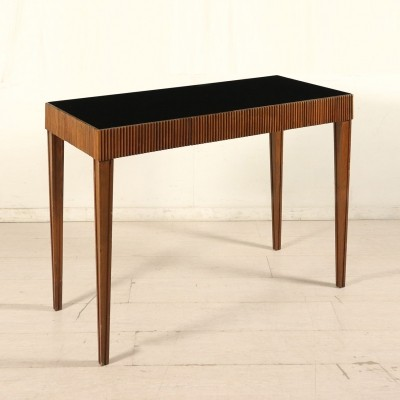 Console Table in Walnut & Glass, Italy 1950s
