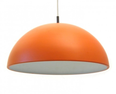 Sixties Dutch orange metal vintage pendant lamp