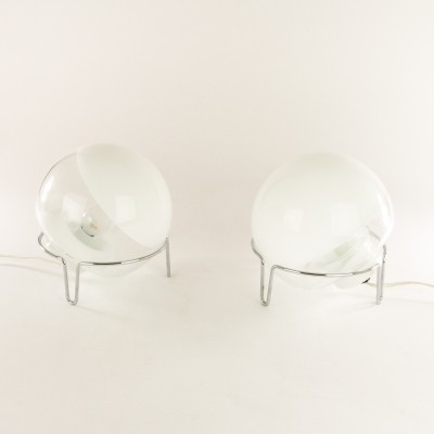 Pair of glass Table lamps by Angelo Mangiarotti for Skipper Pollux, 1970s