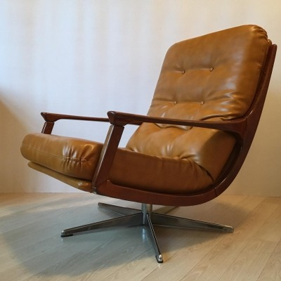 Midcentury Modern German Camel Leather Swivel Lounge Chair, 1960s