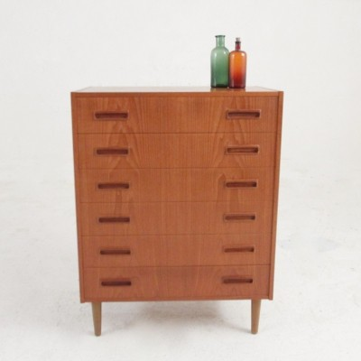 Danish midcentury chest of drawers in teak with six drawers