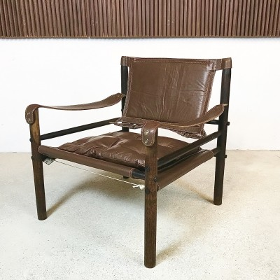 Scandinavian Leather & Brass Safari Easy Chair by Arne Norell, 1960s