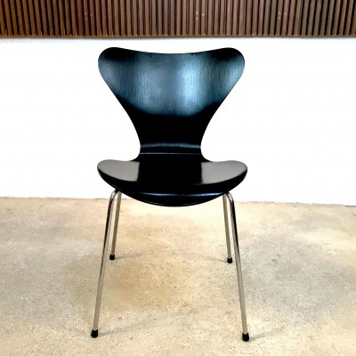 Black Plywood Model 3107 Chair by Arne Jacobsen for Fritz Hansen, 1960s