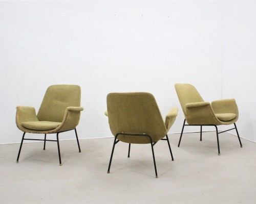 Set of 3 mid century italian design lounge chairs by Rima