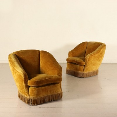 Pair of Armchairs in Velvet with Feather Cushions, Italy 1940s-1950s