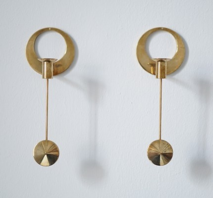 Brass Wall Mounted Candleholders by Artur Pe for Kolbäck, Sweden 1950s