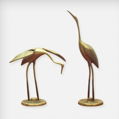 Set Of 2 Brass Cranes, 1960s