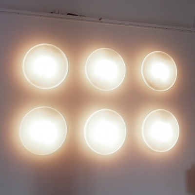 Opaline Glass Discus Lights by Raak Amsterdam, the Netherlands 1952