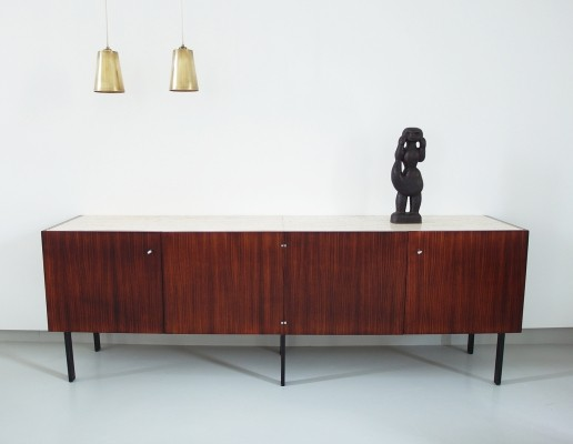 Minimalist French sideboard by Meubles et Fonction in rosewood with travertine top, 1960s