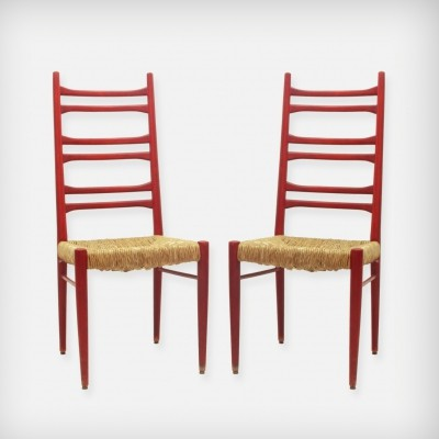 Pair Of Red Wood & Woven Rush Seating Dining Chairs, 1960s
