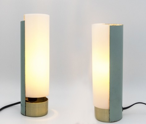 Pair of perspex & metal table lamps by Mario Pasetto for Stilux, 1954