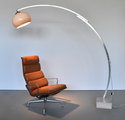 Adjustable Arc Floor Lamp With Original Shade & marble base, 1970s