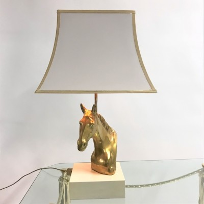 Vintage brass horse head table lamp, 1970s