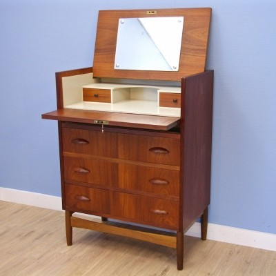 Danish chest of drawers / secretaire in teak & oak, 1960s