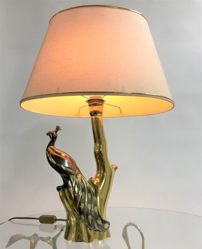 Vintage brass peacock table lamp by Willy Daro, 1970s