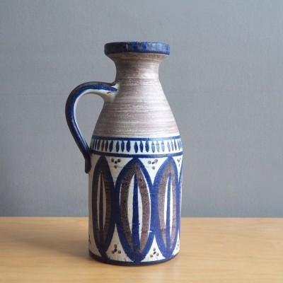 Scandinavian ceramic vase with blue, ecru & white decor, 1960's