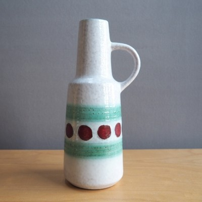 VEB Haldensleben Ceramic vase with decor in red green & white, 1960's