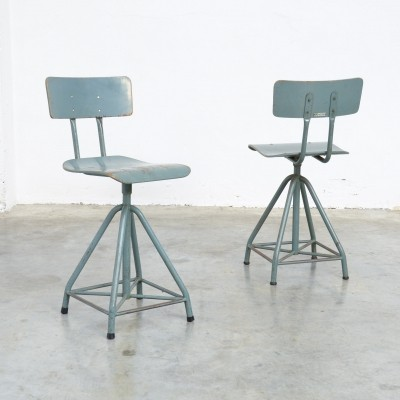 Industrial Bluish Grey Drafting Chair