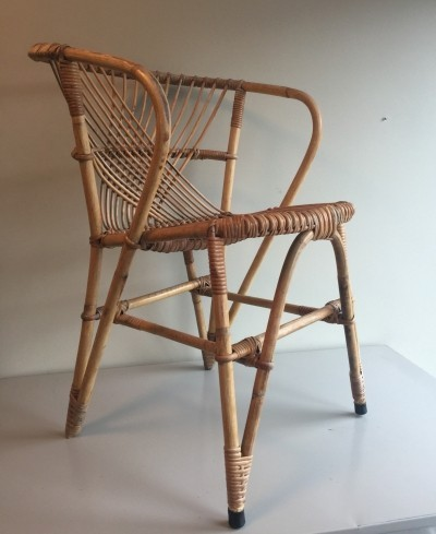 Mid-Century Rohé rattan lounge chair