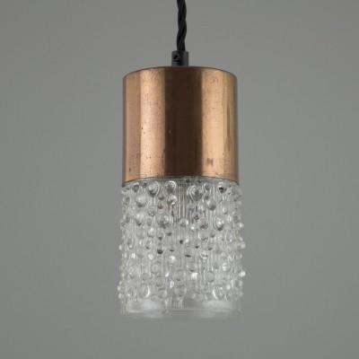Retro moulded glass & copper pendant lights