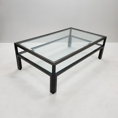 Black lacquered & brass two tiers coffee table by Pierre Vandel