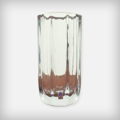 Heavy Octagonal Crystal Glass Vase by Asta Stromberg for Strömbergshyttan, 1950s