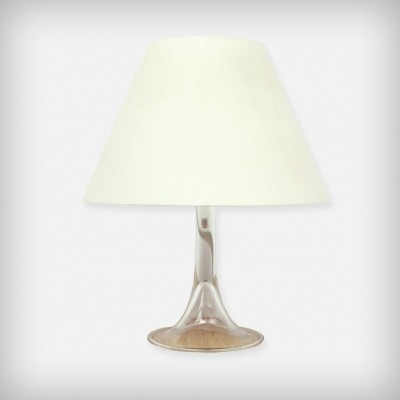 Clear Glass & Fabric Desk Lamp from Holmegaard Glasværk A/S & Royal Copenhagen