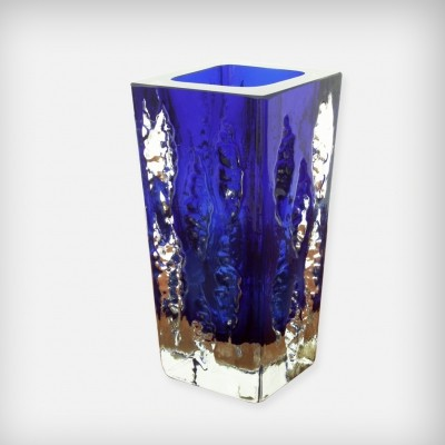 Blue & Clear Ice Glass 'Model 3077' Vase from Glashütte Kurt Wokan, 1970s