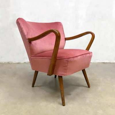 Midcentury modern velvet cocktail armchair by Artifort